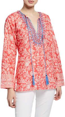 Bella Tu Brooke Floral-Print Split-Neck Long-Sleeve Tunic w/ Hand-Beaded Detail