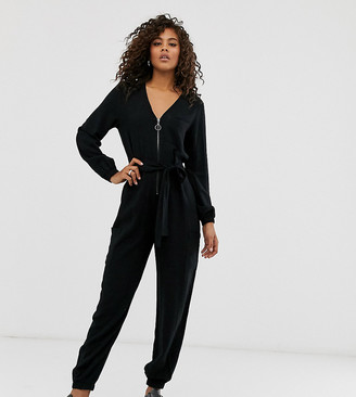 Asos Tall ASOS DESIGN Tall zip front tie waist boilersuit with pockets