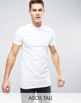 Asos TALL Longline Muscle Polo Shirt In White