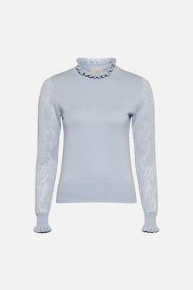 Coast Lace Sleeve Pie Crust Neck Knitted Jumper