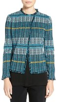 Ming Wang Women's Fringe Trim Jacquard Knit Jacket