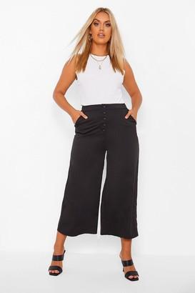 boohoo Plus Wide Leg Button Up Culotte