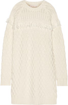 Tory Burch Fringed cable-knit wool sweater dress