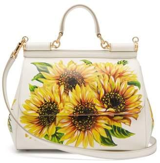 Dolce & Gabbana Sicily Medium Sunflower-print Leather Bag - Womens - White Multi