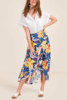 Ava Tropical Floral Maxi Skirt - Blue