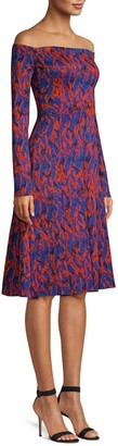 Derek Lam Off-The-Shoulder Abstract Print Dress
