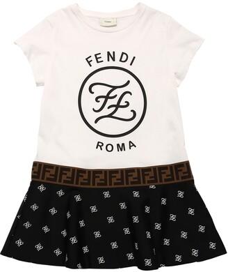 Fendi Printed Cotton Jersey & Lycra Dress