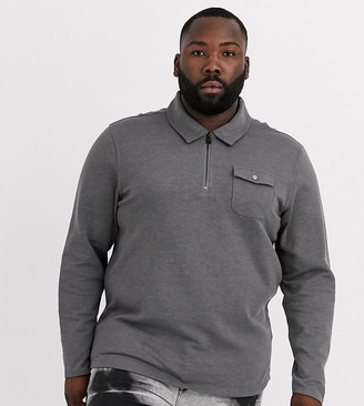 ONLY & SONS quarter zip pocket sweat in grey