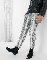 Asos Edition EDITION tapered trousers in grey faux leather with snake print and neon