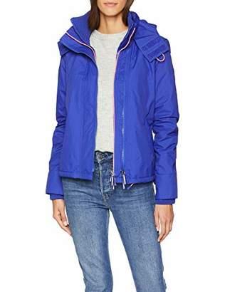 Superdry Women's Arctic Hooded Pop Zip Windchea Sports Jacket, (Toucan Blue/Fluro Candy Pink Ru5), (Size: 12.0)