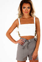 Pink Boutique Unsweet Grey Belted High Waisted Shorts