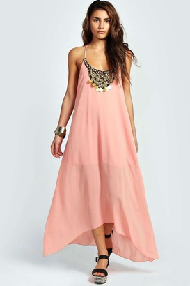 boohoo Beaded Necklace Dip Hem Maxi Dress