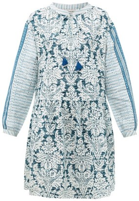 D'Ascoli Georgica Broderie-anglaise Cotton-khadi Dress - Blue Print