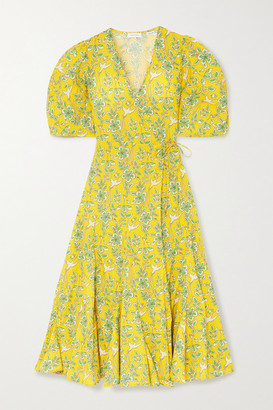 Rhode Resort Fiona Floral-print Cotton-poplin Wrap Dress - Yellow