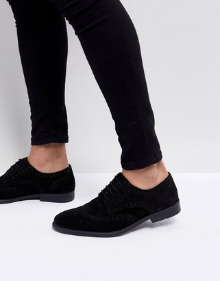 Asos Design DESIGN derby brogue shoes in black suede