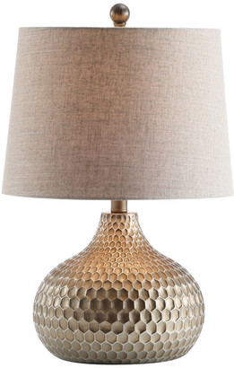 """Jonathan Y Designs Bates Honeycomb LED Table Lamp, Antique Brown, 22"""""""