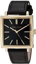Anne Klein Women's AK/2736BKBK Gold-Tone and Black Leather Strap Watch