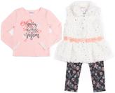 Little Lass Ivory Faux Fur Vest Set - Toddler