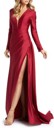 Mac Duggal Long-Sleeve Thigh-Slit Satin Gown