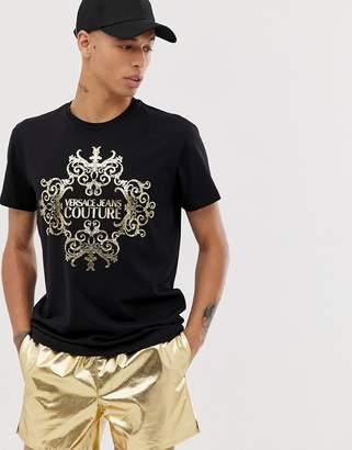 Versace t-shirt with baroque logo-Black