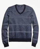 Brooks Brothers Oxford Pique Stripe V-Neck Sweater