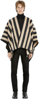 Striped Felted Wool Blend Cape