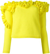 DELPOZO off-the-shoulder ruffled top - women - Cotton - M