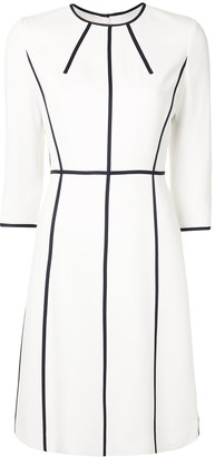 Escada 3/4 Sleeves Piped-Trim Dress