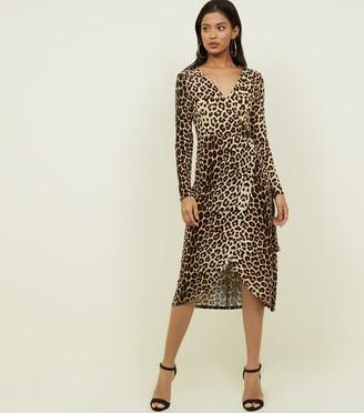 New Look Blue Vanilla Leopard Print Midi Dress
