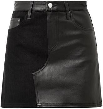 Amiri Paneled Leather And Distressed Denim Mini Skirt