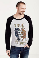 True Religion Panther Vs Tiger Embroidery Mens Tee