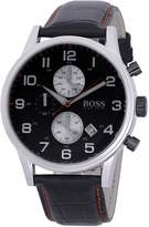 HUGO BOSS 1512631 Men's Quartz Red Accents Leather Strap Black Dial Chronograph Watch