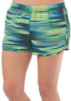 adidas Womens Graphic 3 Stripe M10 Marathon Running Shorts Bold Blue/Flash Lime