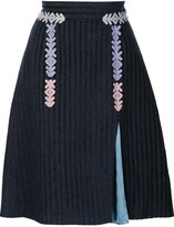 Peter Pilotto velvet striped skirt - women - Cotton/Viscose/Virgin Wool/Polyimide - 8