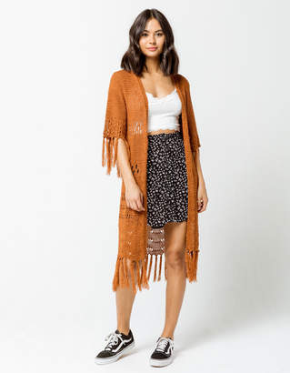 Sky And Sparrow Fringe Womens Cardigan