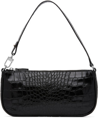 BY FAR Black Croc Rachel Bag