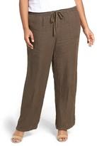 Caslon R) Drawstring Linen Pants (Plus Size)