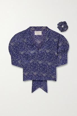 MAISONCLÉO Anita Cropped Printed Silk-crepe Wrap Blouse - Navy