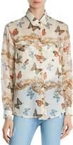The Kooples Butterfly-Print Silk Shirt
