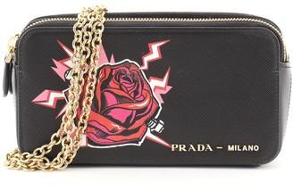 Prada Double Zip Wallet on Chain Crossbody Printed Saffiano Leather Mini