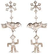 18K Rose Cut Diamond Drop Earrings