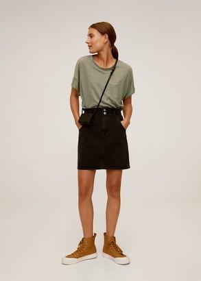 MANGO Pocket 100% linen t-shirt off white - XS - Women
