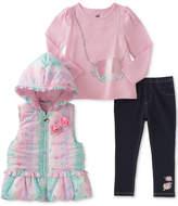 Kids Headquarters 3-Pc. Leopard-Print Vest, T-Shirt & Denim Leggings Set, Little Girls