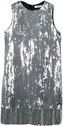 MSGM Teen Silver Dress With Sequins