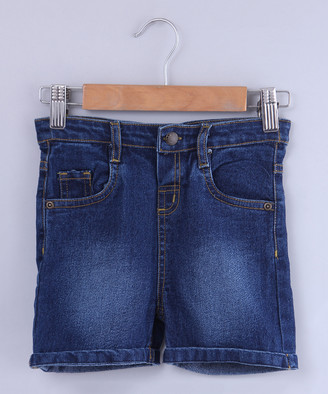 Beebay Boys' Denim Shorts Blue - Dark Blue Turn-Up Denim Shorts - Newborn, Infant, Toddler & Boys