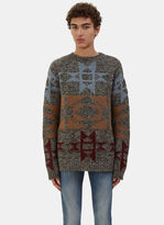 Valentino Men's Two-tone Patterned Cashmere Knit Sweater In Grey
