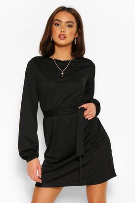 boohoo Tie Waist Long Sleeve Skater Dress
