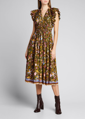 Ulla Johnson Arina Flutter-Sleeve Midi Dress