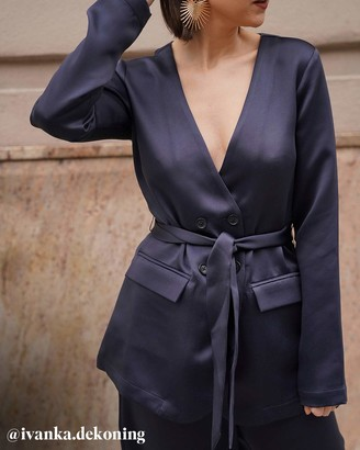 The Drop Women's @amazonthedrop Midnight Belted Waist Blazer XS
