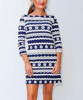 Navy & White Swirl Stripe Three-Quarter Sleeve Shift Dress